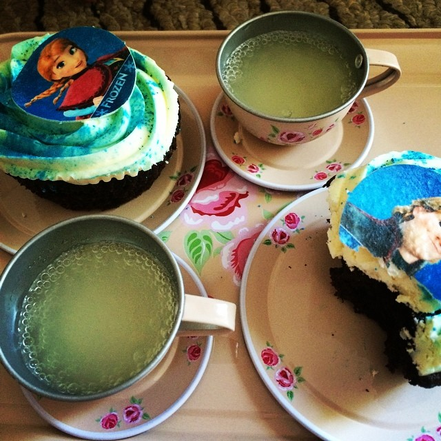 Post birthday breakfast of cake and lemonade on the new tea set. Why not, eh?! #gottobedone