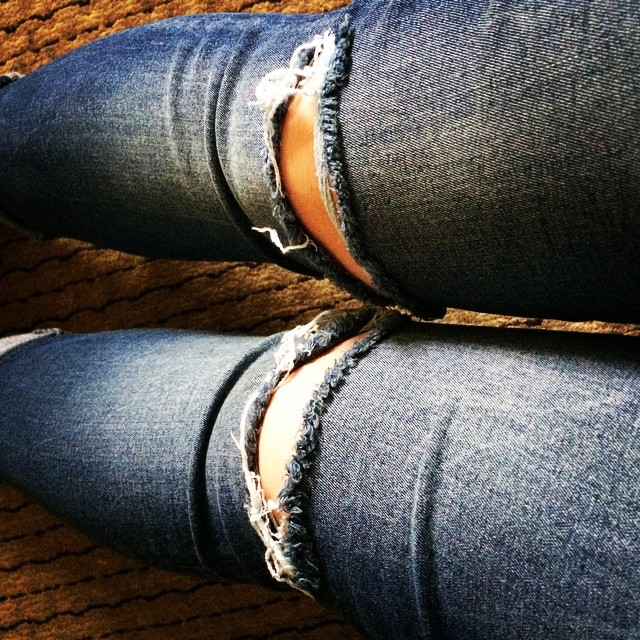 I haven't worn ripped jeans for years. My knees feel weird.