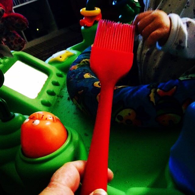 June's new favourite toy. I wonder if Fisher Price knows there's a fortune to be made in silicone bakeware for babies?!
