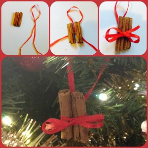 home made cinnamon stick tree decoration