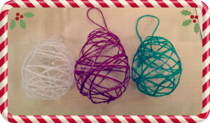 home made woollen christmas baubles