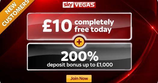 Get a £10 Free Bonus with Sky Vegas