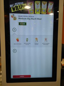 Self-Service screens at McDonald's