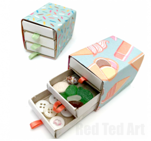 Red Ted Art DIY matchbox drawers